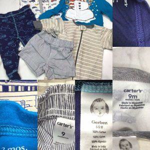 Baby Boys Lot 9 Months Sleeper Tee Pants Shorts